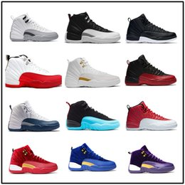 Wholesale Online French - cheap air retro 12 mens basketball shoes wool mens sneaker Black Nylon Blue Suede discount shoes flu game french blue sports shoes online