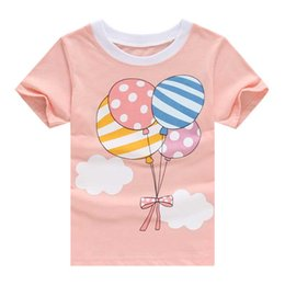 Wholesale Girls Balloon Top - 2016 Cute Baby Girls T-Shirt Pink Toddler Short Sleeve tops cotton Balloon Printed kids t shirt girls clothing Children Clothes