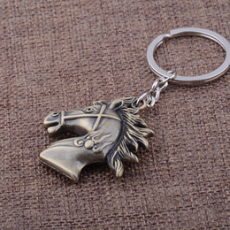 Wholesale Metal Horse Head - KC-96 exquisite Retro Horse head key chains high quality Personality silver plated KeyChains