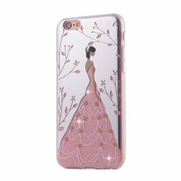 Wholesale Girls Bling Dresses - For iPhone 7 6 6S Plus Pretty Angel Girl Dress Soft TPU Gel phone Case Cover Bling Glitter Electroplating for iPhone6 i6+ 6S