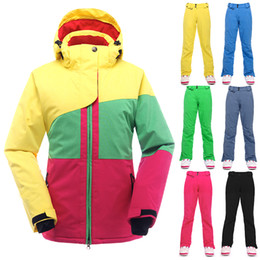 Wholesale Thermal Set For Women - Wholesale-Winter Ski Suit For Women Waterproof Windproof Snowboard Jacket Pants Set Breathable Thermal Ski Suit Female Snow Clothing