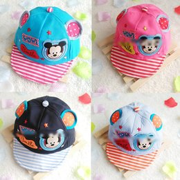 Wholesale Toddlers Girls Baseball Hat - 43~48cm Baby Boy Girl Kid Toddler Infant Hat adjustable Peaked Baseball cotton micky Cap cartoon cute hats wholesale e-packet to USA