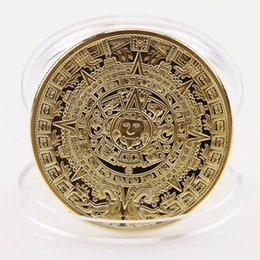 Wholesale Antique Aztec - 2017 Hot New Qrrival 2 Colors Gold Sliver Plated Mayan Aztec Calendar Souvenir Commemorative Coin Collection Gift Holiday Decoration