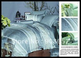 Wholesale Grey Pattern Duvet Cover - Printed Duvet quilt Covers Quality Satin Fabric grey striped floral pattern Queen bed in a bag sets 4pc with sheets home textile