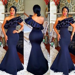 Wholesale Long Formal Dresses For Women - Navy Blue One Shoulder Long Bridesmaid Dresses Ruffles Satin Mermaid Bridesmaid Gowns For Wedding African Women Formal Party Dress