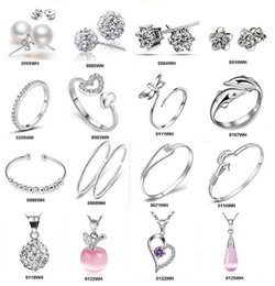 Wholesale Necklace Bracelet Sets Silver - Top Grade Silver Jewelry Sets Fashion Hot Sale Crystal Bracelets Earrings Necklaces Rings for Women Girl Gift Wholesale Free 0002ERBN