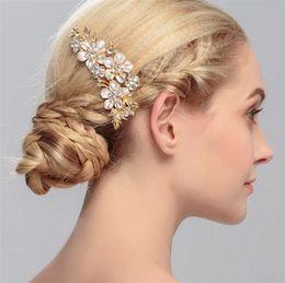 2019 accesorios para el cabello boda india Lujo cristalino chispeante del peine del pelo de la novia de la boda joyería del pelo oro plateado moda Rhinestone del partido accesorios para el cabello DCBJ959