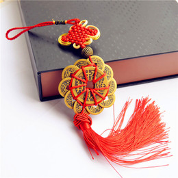 Wholesale Feng Shui Year - by DHL or EMS 100 pcs Red Chinese knot FENG SHUI Set Of 10 Lucky Charm Ancient I CHING Coins Prosperity Protection Good Fortune