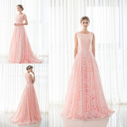 Wholesale Image Stock Photos - 100% Real Picture In Stock Lace Long Prom Dress 2016 Scoop Neck Pink Lace up Back A-line Evening Prom Gown Party Evening Dress