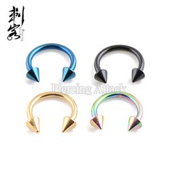 Wholesale Barbell Labret - 16 Gauge 1.2*8*3mm Titanium Anodized Spike Horseshoe Circular Barbell Body Jewelry
