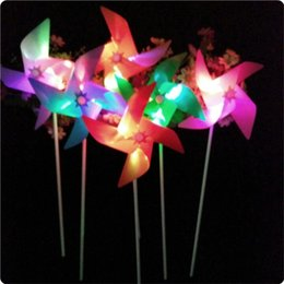 Wholesale led flash windmill - 20pcs lot New Arrivall Flashing Light Up LED Windmill Glows Toys For Children Kids Present Gift Party