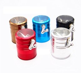 Wholesale Detector Metals - Biggest Colorful Grinders For Tobacco 63mm*80mm 4Layers Zinc Alloy Metal Herb Grinder Smoking Hand Cigarette Detector Grinder Quickly Ship