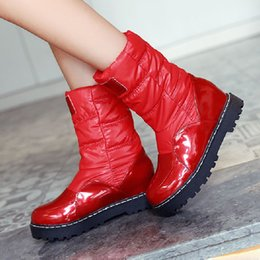 Wholesale Leather Maternity Shoes - New Winter Women Snow Boots Non Slip Waterproof Cotton-Padded Mid Calf Half Boots Thermal Maternity Women Shoes Size 34-43