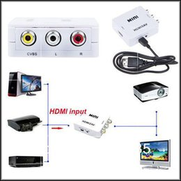 Wholesale Dhl Converter Box - wholesale Free DHL Mini HD Video Converter Box HDMI to RCA AV CVSB L R Video1080P HDMI2AV Support NTSC PAL Output HDMI TO AV Adapter