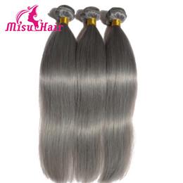 Wholesale Brazilian Hair Bundles Grey - Full Grey Straight Human Hair Weaves Dyed Brazilian Hair Unprocessed Hair with Machine Double Weft Bundles Misu Hair