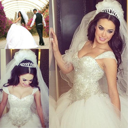 Wholesale Sweetheart Ball Gown Sparkle Beaded - 2016 Sparkling Luxury Princess Ball Gown Wedding Dresses Sweetheart With Straps Crystal Beaded Bodice Back Lace-up Chapel Train Bridal Gowns