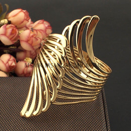 Wholesale Wings Bangles - 2016 luxury womens ladies females punk nightclubs DJ DS exaggerated Hollow wings bangles bracelets wristband gold