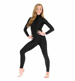 Wholesale Full Body Nylons - Wholesale-Black Long Sleeve Unitard Women Spandex Lycra Ballet Gymnastic Full Body Tight Jumpsuit Unitard Dance Costumes Unitards Bodysuit
