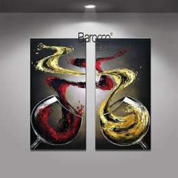 Wholesale modern wine wall art paintings - 2 Pieces Hand Painted Still Life Oil Painting Wine Cup Modern Wall Art Decoration Home Kitchen Living Room