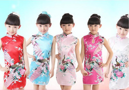 Wholesale Peacocks Sale - Hot Sale Chinese Girl Cheongsam Summer Emulation Silk Peacock One-Piece Dress Qipao Suitable For Height 80-130cm 1-8yrs Children Dress