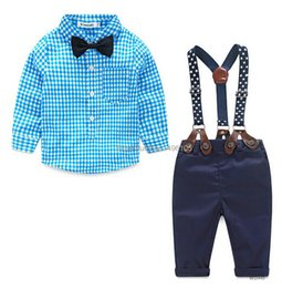 Wholesale Baby Boy Suspender Trousers - 2016 New Brand Baby boy Spring clothes Gentleman Plaid clothing suit For Newborn Baby Bow Tie Shirt + Suspender Trousers sets