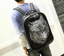 Wholesale 3d animal backpacks - Factory sales brand male package personality street style 3D Wild Langtou mens backpack trend of high-grade Pu rivet brand Backpack