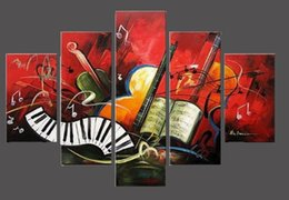Wholesale Music Notes Painting - 5 Panel Music Note Canvas Painting Modern Abstract Art House Decoration 100% Hand Paint Oil Painting