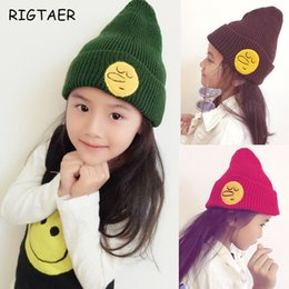 Wholesale Girls Korean Smile - baby boy girl hats Korean children smiling face knitted hat children hat cap autumn and winter baby solid color warm wool hat