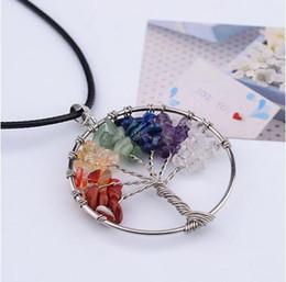 Wholesale Vintage Women S Necklace - Vintage Women`s Girl Natural Crystal Quartz Gemstone 7 Chakra Healing Tree of Life Pendant Necklace Jewelry Gift Hot JZ