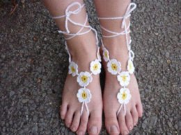 Wholesale Wholesale Crocheted Footless Sandals - Daisy Crochet Barefoot Sandals Hand Footless Crochet Sandals - the bride Anklet sandals stone sandals 2010