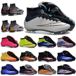 Wholesale Childrens Outdoor - 2017 new Kids Soccer Shoes many colors Cristiano Ronaldo CR7 Mens Mercurial Superfly FG Childrens Breathable Boys Girls Shoes Football Boots