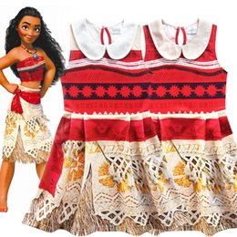 Wholesale Cute Chinese Girls - Cute Summer Girls Dress Cartoon Moana Kids Princess Tattoo Clothes Children Party Birthday Costume for christmas