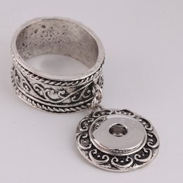 Wholesale Snap Ring Jewelry Making - Silver or Gold 18mm Snap button Snap Napkin RIng or silk button buckle DIY making Jewelry Charms LU01