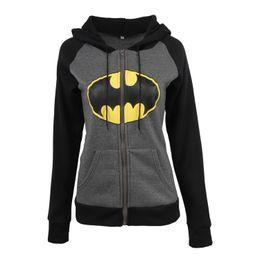 Wholesale Ladies Hoodie Fleece Jackets - Lady fashion bat printing pattern long sleeve zipper hooded front pocket hoodie women casual fleece lining jacket