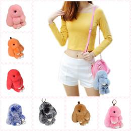 Wholesale Hand Bag Plush - Cute M&L Size Fluffy Bunny Keychain 40 Colors Plush Rabbit Key Ring Pompoms Key Chain Car Bag Charm Pendants