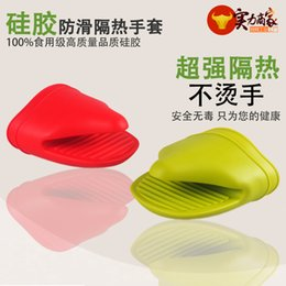 Wholesale Rubber High Temperature - Spot wholesale silicone glove hand clip microwave oven baking insulating finger high temperature resistant gloves