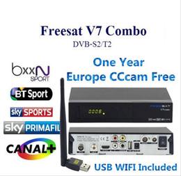Wholesale T2 Receiver - Freesat V7 Combo DVB-S2 DVB-T2 Receptor con 1 Año Europa Cline Receptor de Satélite Apoyo cccam Biss PowerVu KeyNewcam