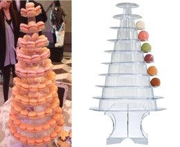 Wholesale Tier Cake Christmas - 2016 new arrival 10 Tier Macaron Tower Macaron Display with Acrylic Base Wedding Birthday Party Dessert Display