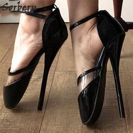 Wholesale Black Transparent Wedding Dress - Sexy Ballet Thin Heels Pumps Unisex Plus Size Ladies PVC Transparent Shoes Women Shoes Ankle Strap BDSM Zapatos Mujer Party Sandalias