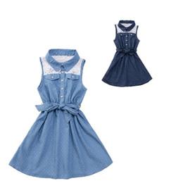 Wholesale Infant Girl Denim Dresses - Wholesale- Infant Baby Denim Girls Dresses Sleeveless Lace Kids Princess Dress Summer 2016 Blouse For Girls Tutu Clothes Children Dress