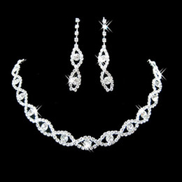 Wholesale Diamante Heart Earrings - Bridal Wedding Party Jewelry Crystal Diamante Twisted Necklace Drop Earrings Set