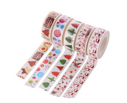 Wholesale Adhesive Laser Paper - 5pcs Santa Claus Gift Socks Pattern Cartoon Hand Torn Diy Decorative Tape Paper Sticky Adhesive Sticker Decorative Washi Tape 1.5cm*10m