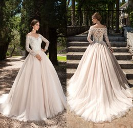 Wholesale Lace Back Wedding Dress Designer - Vintage 2017 Lace Long Sleeves Wedding Dresses Bridal Gown Off the Shoulder Button Back Plus Size Countyr Style Wedding Gowns