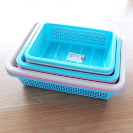 Wholesale Large Plastic Drains - Plastic Fruit Basket Large Small Home Living Room Kitchen Shallow Storage Crate PP Material Easy-to-carry Draining Basket