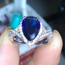 Wholesale Sapphire Cutting - Sz5 6 7 8 9 10 Jewelry Pear Cut 10k white gold filled sapphire CZ Wedding Ring gift