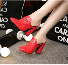 Wholesale Top Fashion Front Open - hot! top quality!u617 black red genuine leather heel slide shoes mules shoes designer runway