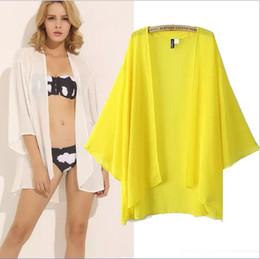 Wholesale Japanese Slimming Shirt - Wholesale- 2015 summer new European style of Japanese kimono-style women's chiffon shirt women summer cardigan sun protection clothing
