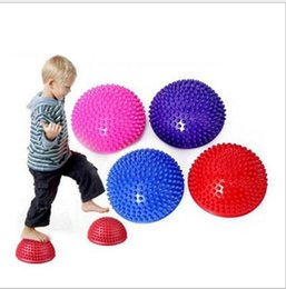 Wholesale fitness balance - children Yoga Half Ball Physical Fitness Appliance Exercise balance Ball massage Point stepping stones balance Ball for children XT