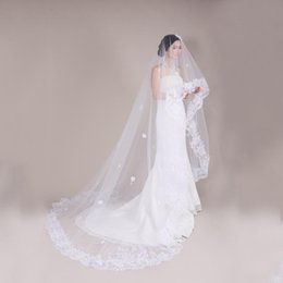 Wholesale Lace Cathedral Veil Blusher - Luxury White Lace Cathedral Length Bridal Veils Tulle Blusher Wedding Veils For Brides 110 Inches Long Cheap Bridal Veils Ireland