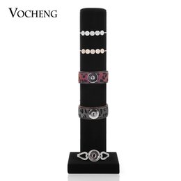Wholesale Bracelet Organizer Box - VOCHENG Detachable Cylinder Black Velvet Jewelry Organizer Bracelets Display NN-436